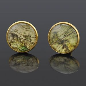 Old World Map Antiqued Gold Cufflinks